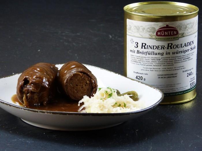 Rinder-Rouladen mit Brät - Dose mit 3 Rouladen á 220g